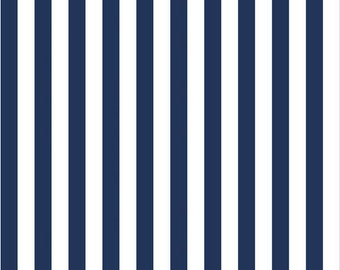 SALE Riley Blake Fabric Navy and White Stripes Half Inch FREE SHIPPING
