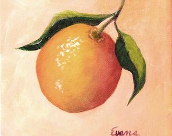 "ORANGE fruit painting.  One of three citrus fruit paintings, Lemon, Lime, and Orange. 6"" x 6"""