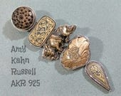 AKR 925 Amy Kahn Russell Pendant or Brooch Silver Black Gold Spanish Damascene by Renowned Jewelry Artist Designer Solid Sterling Silver!