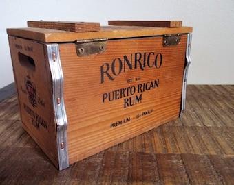 Vintage Ronrico Rum Promotional Wood Crate Recipe Box
