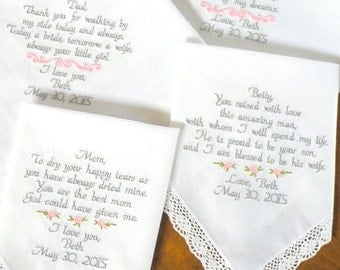 Embroidered Wedding Hankerchiefs, Mom and Dad Gifts, Set of 4, Personalized, Wedding Gifts Personalized Wedding Gifts by Canyon Embroidery