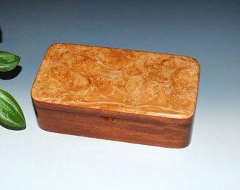 Handmade Maple Burl on Mahogany Wooden Box With Tray - Jewelry Box, Stash Box, Treasure Box - Handmade Jewelry Box by BurlWoodBox, Wood Box
