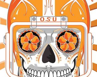 Oklahoma State University Throwback Football Sugar Skull 11x14 print