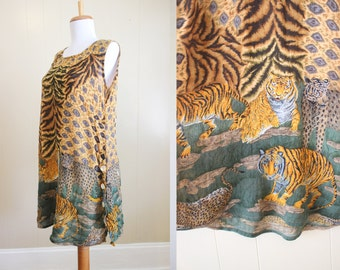 Safari Dress Vintage 90s Animal Print Crinkle Loose Small