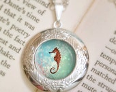 Christmas Sale Seahorse Locket - Silver Necklace - Wearable Art with Silver Chain