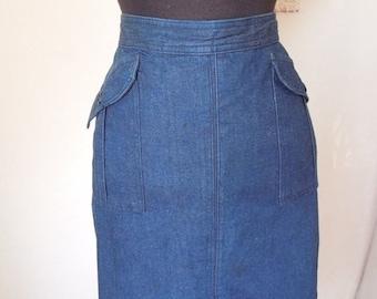 Vintage 80's Denim Skirt, Midi Skirt, 40's Style, Dark Blue, by Jag, Women's Medium, Waist 28, Hip 37