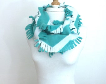 Fleece Chevron Scarf / Fringed Infinity Scarf, Turquoise and White / Winter Loop Scarf /  Christmas Gift Ideas for Her / Holiday Gifts