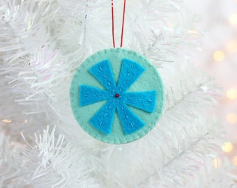 Handmade Snowflake Ornament, Christmas Tree Ornament, Modern Christmas Decorations, Nontraditional, ready to ship, minimal modern