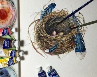 Original watercolour Nest with two eggs & Blue Jay feathers