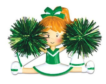 Personalized Green Cheerleader Christmas Ornament- Free Personalization