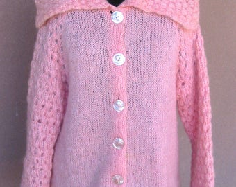 Vintage 1960s - Pink knit buttons front mohair cardigan