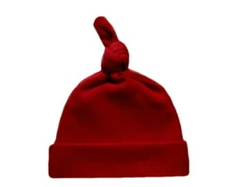 Red Knotted Baby Hat. 100% Cotton Knit. Double Thick with a Built in Cap to Help Stay on Baby's Head. 7 Preemie, Newborn and Toddler Sizes