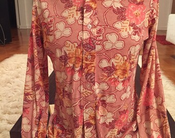 Peach Floral Tapestry Print Vintage MOSS SHIRTMAKERS Acetate Nylon Disco Shirt M