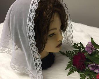 White  Soft Floral Net Lace  Mass - Church Mantilla Scarf Veil - Headcover new