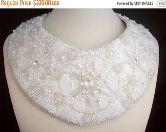 Holiday Sale White and Silver Snowflakes Bib Necklace Bead Embroidered Collar