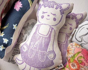 Plush Doll Pillow, Imaginative Play, Woodland Figure, Princess Pippa, Soft Fabric Baby Doll, Nursery Decor, Child's Gift, Toddler Gift