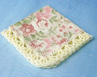 Small handkerchief, Hanky, Hankie, Petite, Purse Sized, Hand Crochet, Lace, Floral, Roses, Pink, Green, Blue, Cream, Ladies, Ready to ship