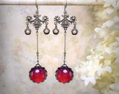 Dragons Breath Earrings Red Opal Glass Earrings Valentine's Day Red Wedding Filigree Earrings Ultra Violet Magenta Earrings Mexican Opal