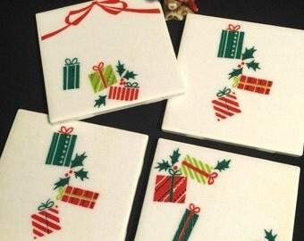 FAB SALE Christmas Gifts Vintage 30s/40s fabric on Tile - Retro Coasters - Mid Century Christmas - Set of 4