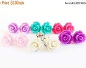 SALE- Clip On Rose Earrings- Choose Your Color- Clip On Nickel and Lead Free- 10mmBlack Friday Sale 20% Off