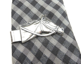 Horse Tie Bar- Horse Money Clip- Sterling Silver Ox Finish