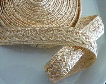 Golden Moroccan art silk trim, woven 5 metres