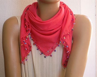 coral cotton scarf, beaded trim