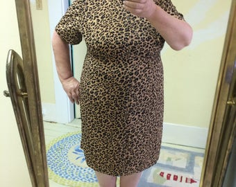 Dress, Leopard Print, Plus Size, Sag Harbor, Professional or Dressy Look