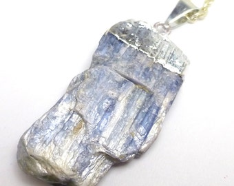 Kyanite Pendant necklace Sterling Silver Reflective Blue Cornflower Raw Crystal One of a Kind Unique Fashion Style Chain Fancy Gift Present