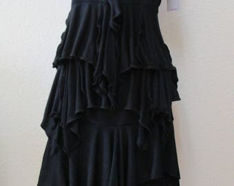 Black Polyester Skirt with 2 layers plus made in USA (v43)