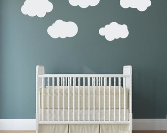 5 Large Fluffy Clouds Vinyl Wall Decals