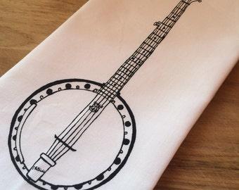 Tea Towel. Banjo. Black. Hand Screen Printed.