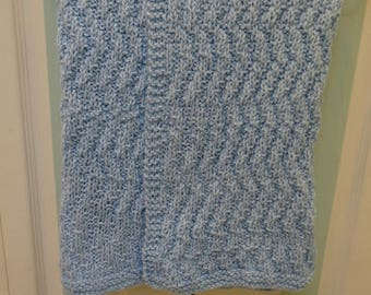 BABY BLUE BLANKET, Crib blanket, soft acrylic yarn , machine washable and dryable, size 34 inches by 38 inches, Chevron stitch
