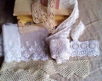 Antique Laces / Vintage Lace Trims Lace Remnants Needlepoint, Bobbin, Bedfordshire, Broderie Anglaise/ 5pc Vintage Wedding Bears Dolls