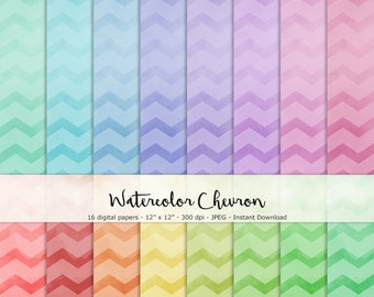 NEW!! Watercolor Chevron Paper Set of 16 - Printable and Digital