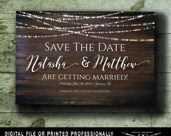 Rustic Save the Date Postcard | Printed or Printable Digital File DIY | Wood And Lights Save the Date Postcard | Wood Wedding Postcard