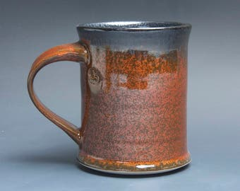 Handmade pottery coffee mug, ceramic mug, stoneware tea cup 16 oz mug glossy tangerine red flake  3922