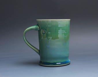 Pottery coffee mug, ceramic mug, stoneware tea cup jade green 16 oz 3979