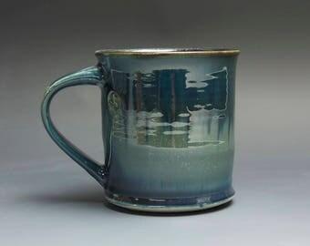 Pottery coffee mug, ceramic mug, stoneware tea cup navy blue 16 oz 3996