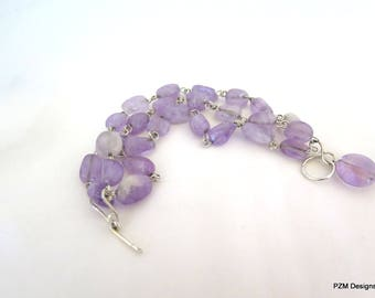 Amethyst Three Strand Bracelet, Lilac Amethyst Multi Strand Tennis Bracelet, Gift for Her