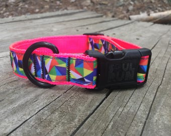 Dog Collar - Abstract colors with Black Buckle