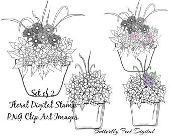 Digi Stamps, PNG Clipart, Floral Clip Art, Flower Pots, Set of 2, Instant Download
