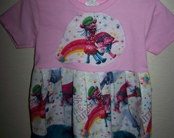 Girls TROLLS Dress Toddler Dress Pink TShirt Dress Pass The Glitter Birthday Gift Party Sz 2T