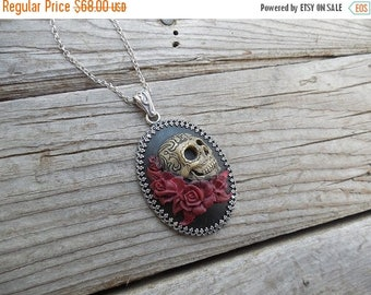 ON SALE Day of the dead cameo necklace handmade in sterling silver with red roses