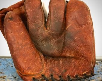 Antique Baseball Glove, Vintage Baseball Glove, Leather Baseball Glove, 1940s Baseball Glove, Tru-Play Dreier Co.