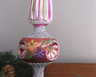 Vintage Hand Blown And Decorated Christmas Tree Topper
