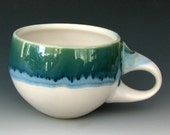 CERAMIC COFFEE CUP #21 - Stoneware Coffee Cup - Stoneware Tea Cup - Pottery Cup - Blue Cup - Green Cup - White Cup - Food Safe Cup