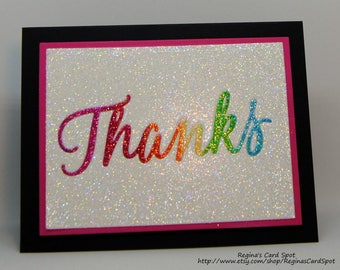 Rainbow Glitter Thanks Card