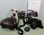 Vivitar Camera v335 SLR 35mm Film 50mm Lens w Cover Leather Travel Case & Strap Instructions Manual Kalimar Quick Flash Working Ready Ship