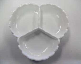 Fenton white hobnail relish dish, Fenton milk white, clover hobnail dish